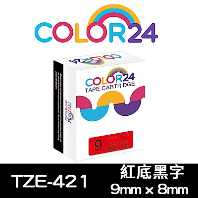 Color24 for Brother TZe-421 紅底黑字相容標籤帶(寬度9mm)
