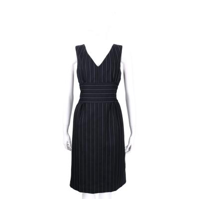 KENZO 黑/藍條紋無袖羊毛洋裝(100%WOOL)
