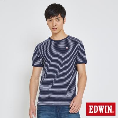 EDWIN 復古滾邊細條T恤-男-丈青