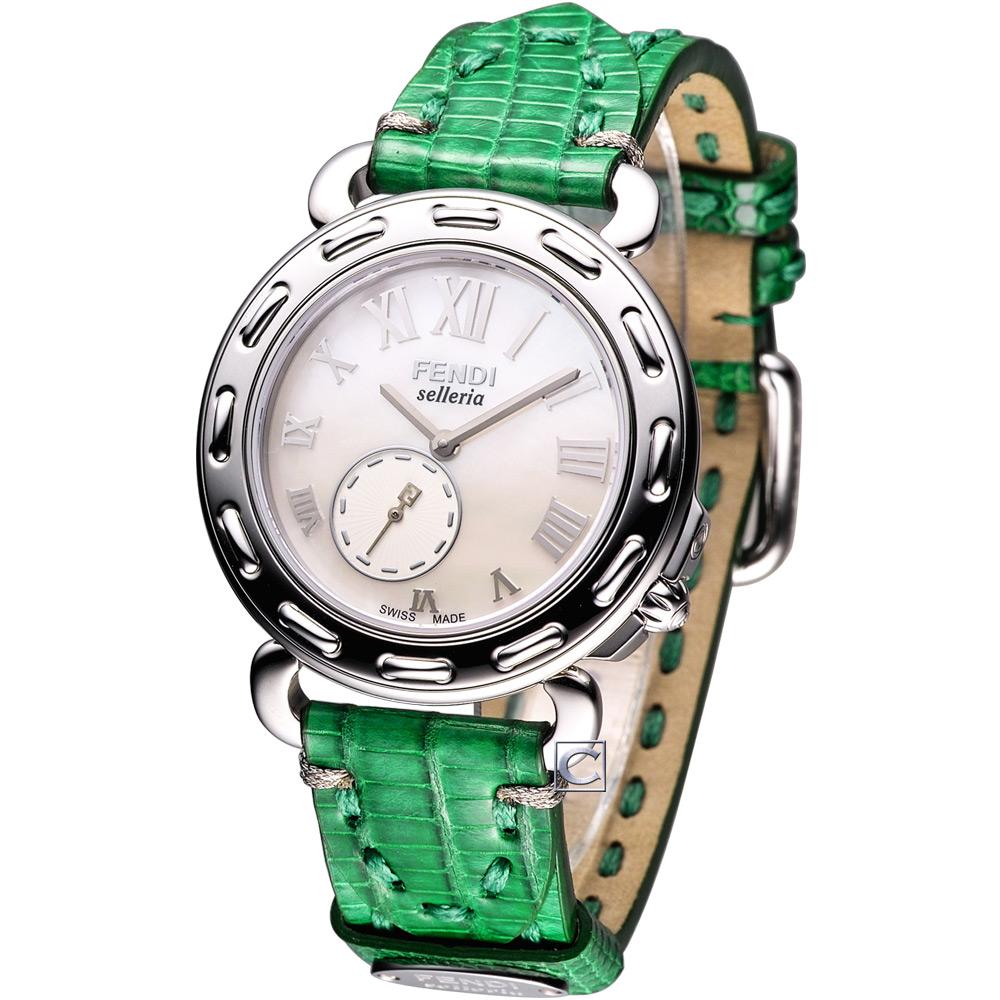 FENDI Selleria 維多利亞時尚腕錶-綠色錶帶/37mm