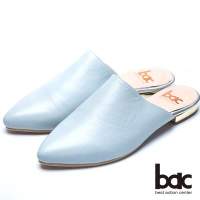 bac嚴選真皮 方便舒適後空鞋-灰藍