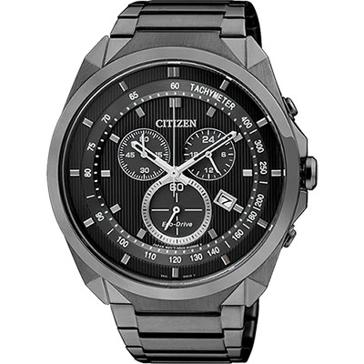 CITIZEN Eco-Drive 專屬型男計時腕錶(AT2155-58E)-IP黑/44mm