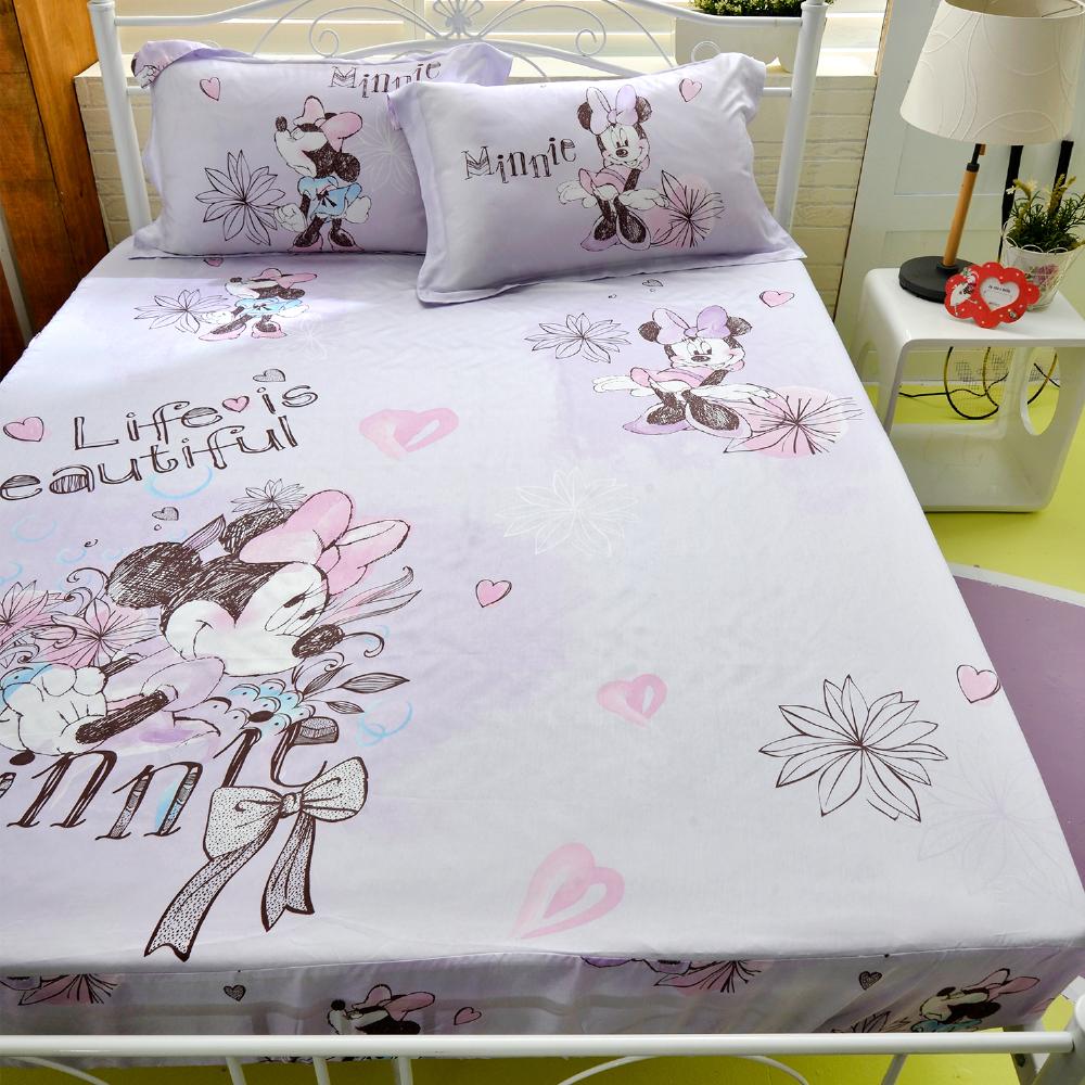 Saint Rose 米妮-紫 雙人100%純天絲枕套床包三件組