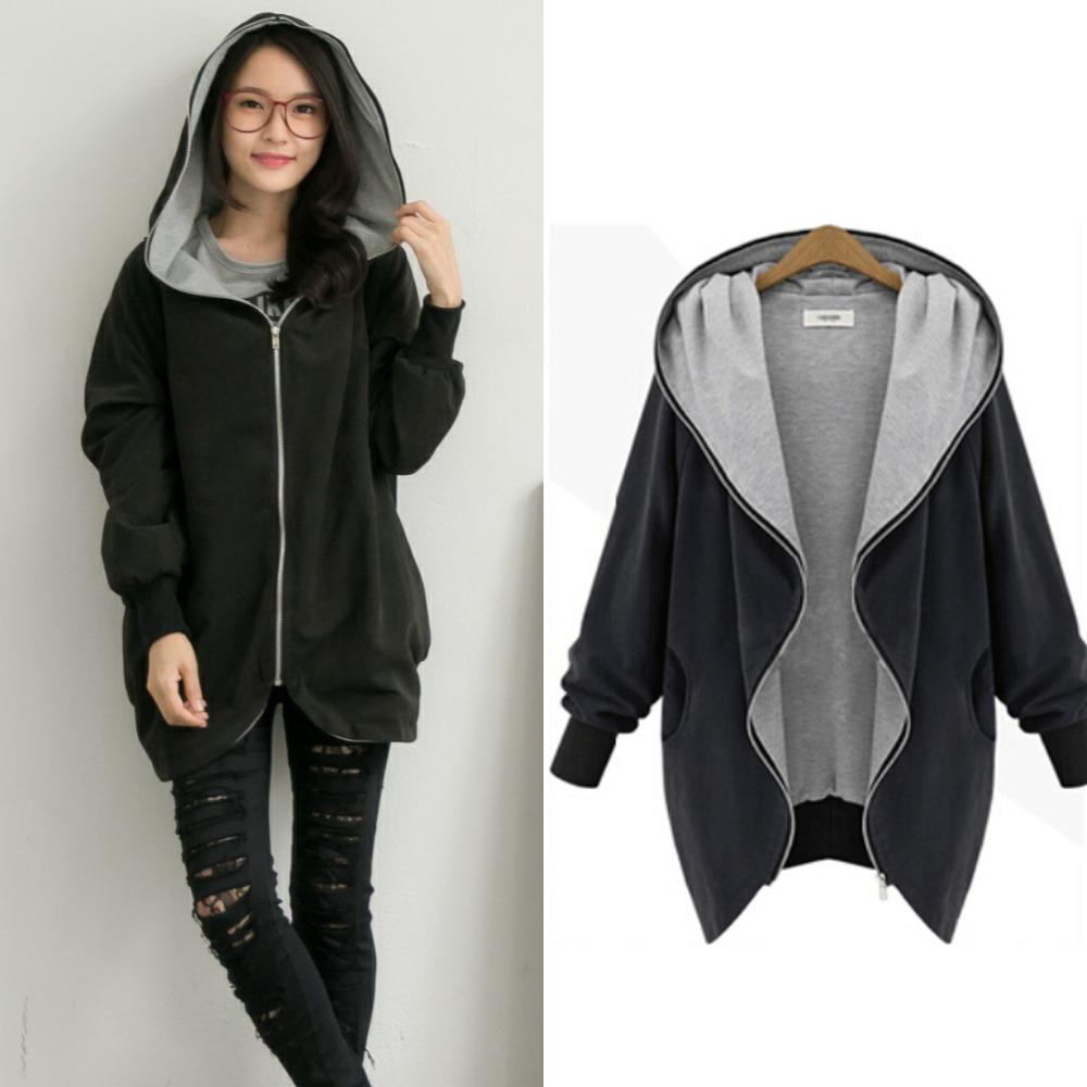中大尺碼 棉料內裡配色顯瘦連帽拉鏈風衣外套XL~3L-La Belleza