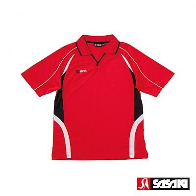 SASAKI 吸濕排汗排球短衫-男-紅/黑