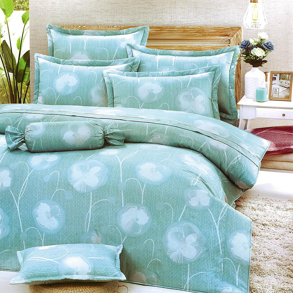 Carolan-花意綿綿-藍 台灣製加大五件式純棉床罩組