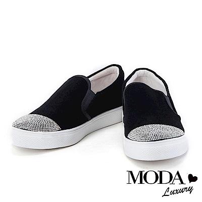 休閒鞋  MODA Luxury 奢華耀眼白鑽點綴絨布厚底休閒鞋-黑