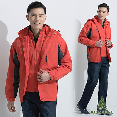 JOHN DUKE 時尚休閒保暖防風外套_橘色(22-5K1250)