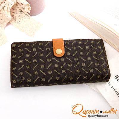 DF Queenin皮夾 - 法式時尚花漾紋經典零錢式長夾