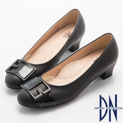 DN-典雅名媛-氣質Fashion飾扣低跟鞋-黑