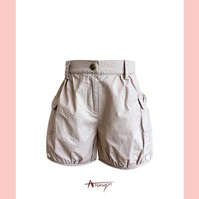 Annys可愛點點雙口袋鈕扣造型短褲*2331卡其