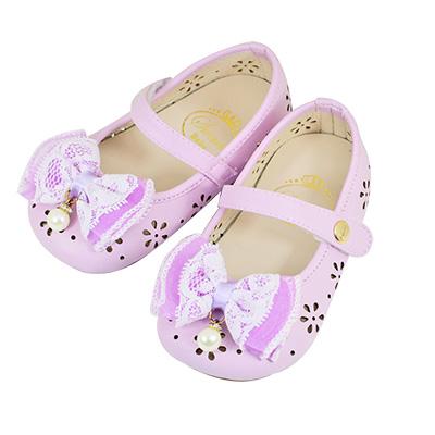 Swan天鵝童鞋-粉彩雕花摟空學步鞋 1481-紫