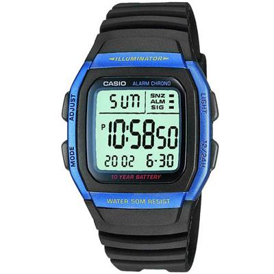 CASIO 樂活休閒運動數位錶(W-96H-2A)-藍框