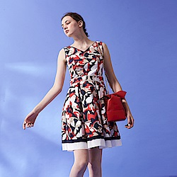 ICHE 衣哲 法式優雅V領雅緻幾何撞色設計無袖禮服洋裝-藍