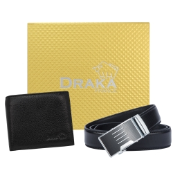 DRAKA 達卡 - 黃金禮盒 真皮皮夾+自動皮帶-8919304