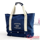 DF Queenin - 韓版帆布款輕旅遊肩背式旅行包-深藍
