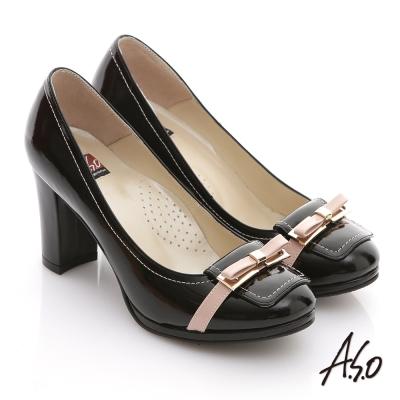 A.S.O 修身美型 鏡面牛皮立體蝴蝶高跟鞋 黑