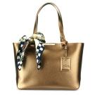Longchamp Le Foulonne City小牛皮購物托特包(小)-金色(贈帕巾)