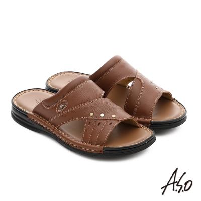 A.S.O 都會休閒 全牛皮手縫氣墊休閒涼拖鞋 茶色