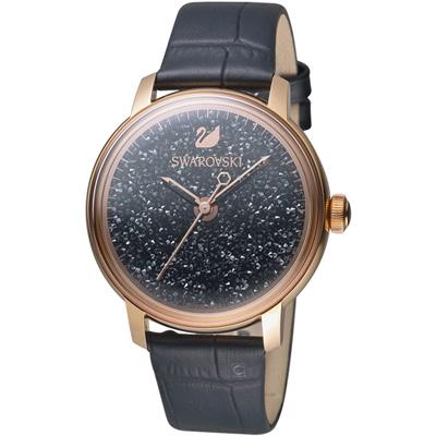 Swarovski施華洛世奇璀璨光彩時尚腕錶-38mm/玫瑰金x黑色