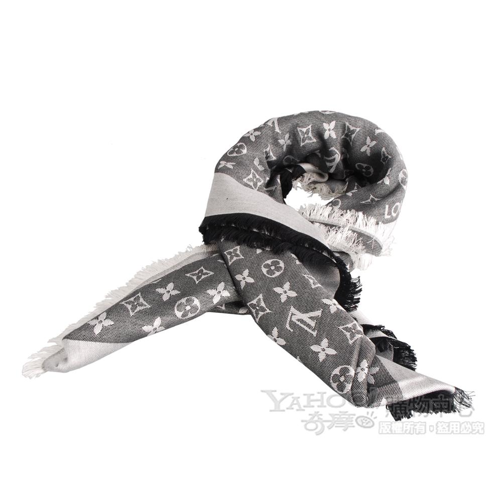 LV【M71378】經典monogram denim印花披巾(黑)