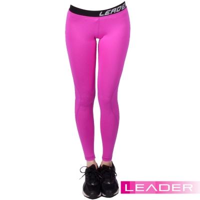 Leader 女性專用 DotFit運動壓縮緊身褲 (紫底小點)