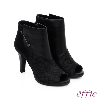 effie 保暖靴 真皮異材質拼接魚口高跟踝靴 黑色