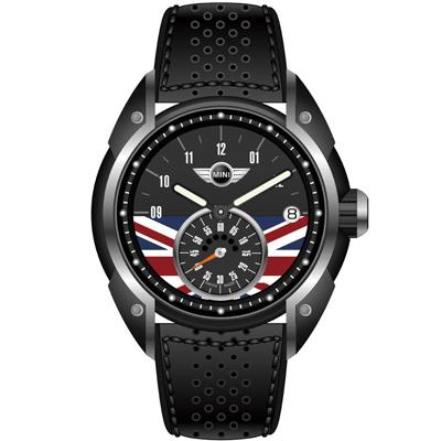 MINI Swiss Watches 英國旗幟經典腕錶-黑x黑色皮錶帶-45mm