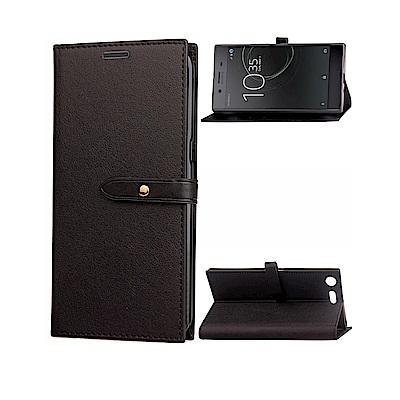 PKG SONY XZ Premium 側翻式皮套-銅扣系列-黑色