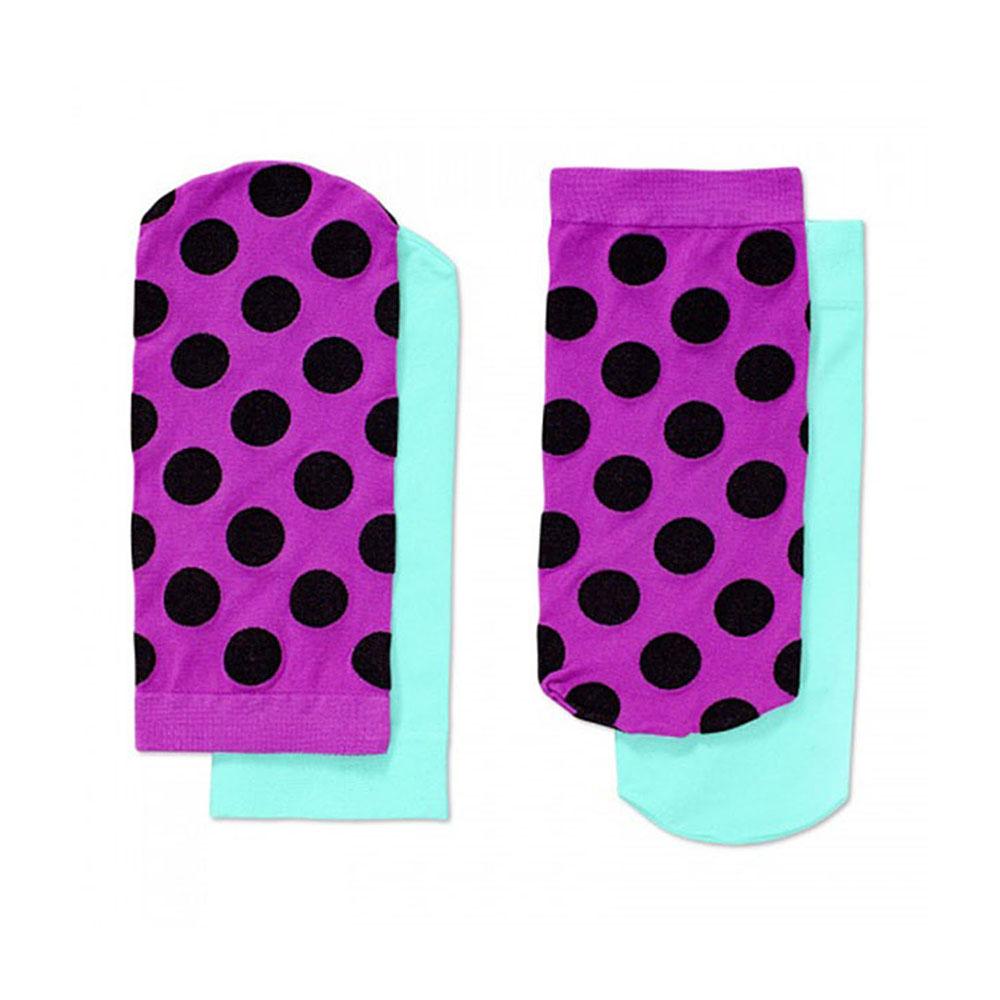 【摩達客】瑞典進口【Happy Socks】紫黑圓點+青綠短襪兩對組