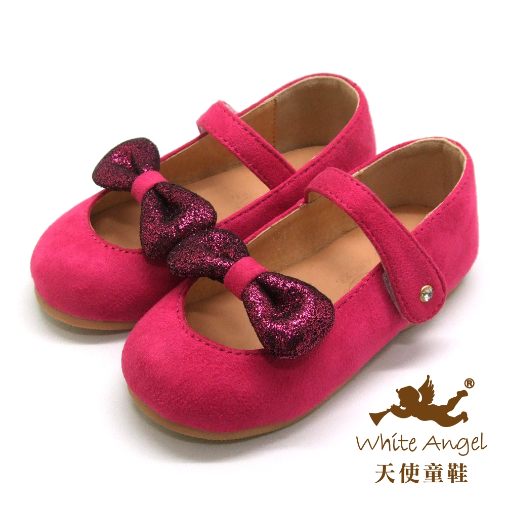 天使童鞋-D394 甜心蝴蝶結絨布娃娃鞋(小-中童)-俏麗桃