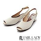 Fair Lady方頭設計露趾繞帶式粗跟涼鞋 白