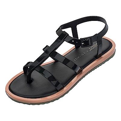 Melissa 撞色羅馬平底涼鞋-黑/咖/綠