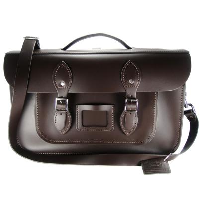 The Leather Satchel 英國手工牛皮劍橋包 肩背後背包 可可黑 15吋
