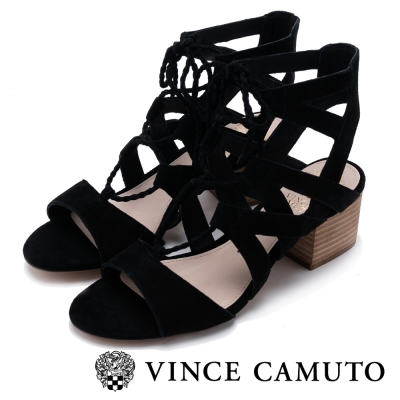 VINCE CAMUTO 浪漫甜美 曲線綁帶粗跟涼鞋-絨黑