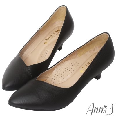 Ann'S頂級小羊皮拼接V口低跟尖頭鞋-黑