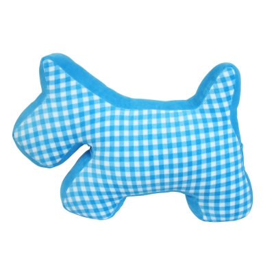 Yvonne-Collection格紋立體狗抱枕-藍