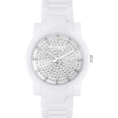 GOTO 星鑽時尚白陶瓷腕錶-滿鑽版/39mm