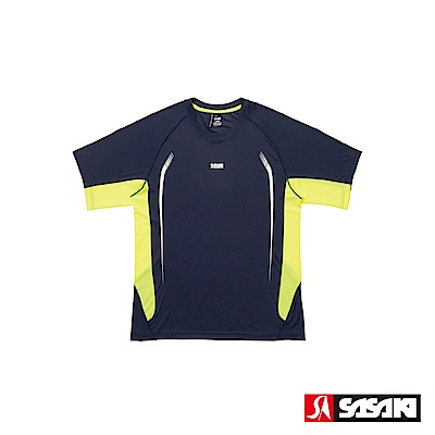 SASAKI 夜間反光抗紫外線長效性吸排功能圓領短衫-男-丈青/豔黃