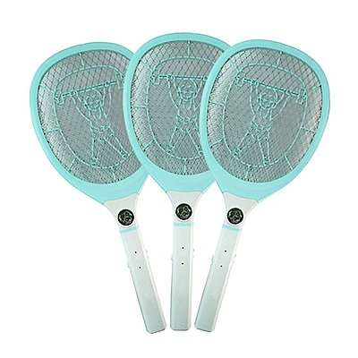(3入組)KINYO LED三層防觸電捕蚊拍電蚊拍(CM-2229)充電式