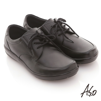 A.S.O 學生鞋款 全真皮素面綁帶氣墊鞋 黑