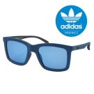 【adidas 愛迪達】三葉草LOGO設計款太陽眼鏡#藍框-水銀鏡片(015021009)