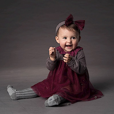 PIPPY 蕾絲洋裝長袖禮盒 棗紅