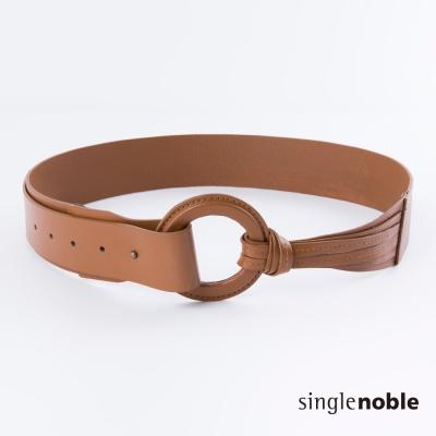 獨身貴族 嬉皮旅人皮革大圓環寬版皮帶(2色)