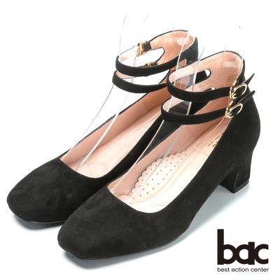 bac台灣製造 嚴選真皮瑪莉珍高跟鞋-黑色