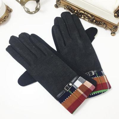 ACUBY-二指觸控時尚隨機隔紋手套-黑