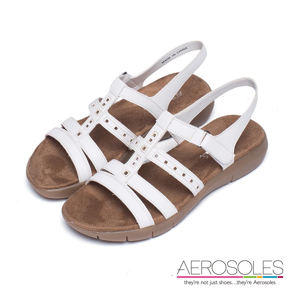 AEROSOLES 幾何鏤空繫帶魔鬼氈式涼鞋~清新白色