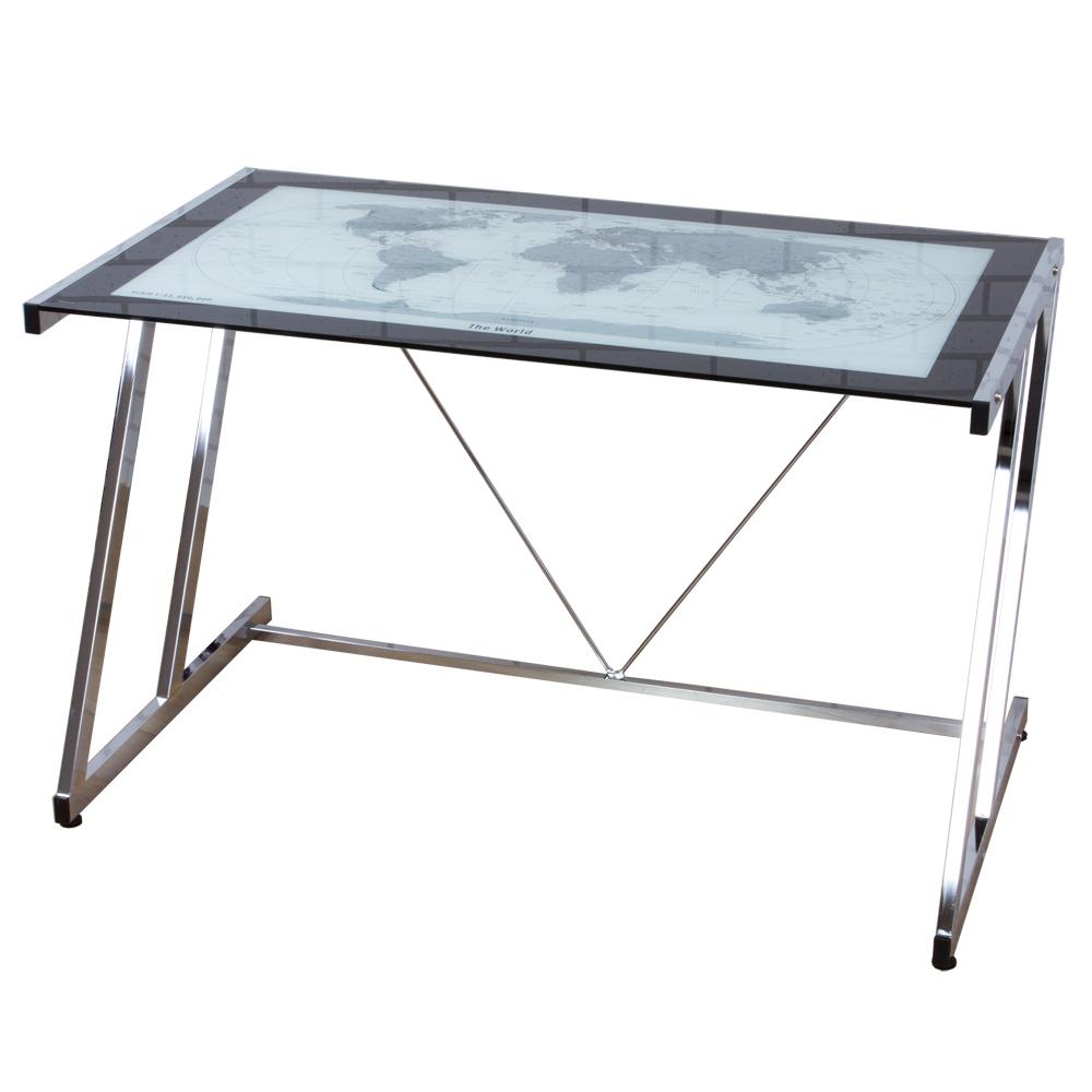 世界地圖強化防爆玻璃加深工作桌/電腦桌-寬120cm