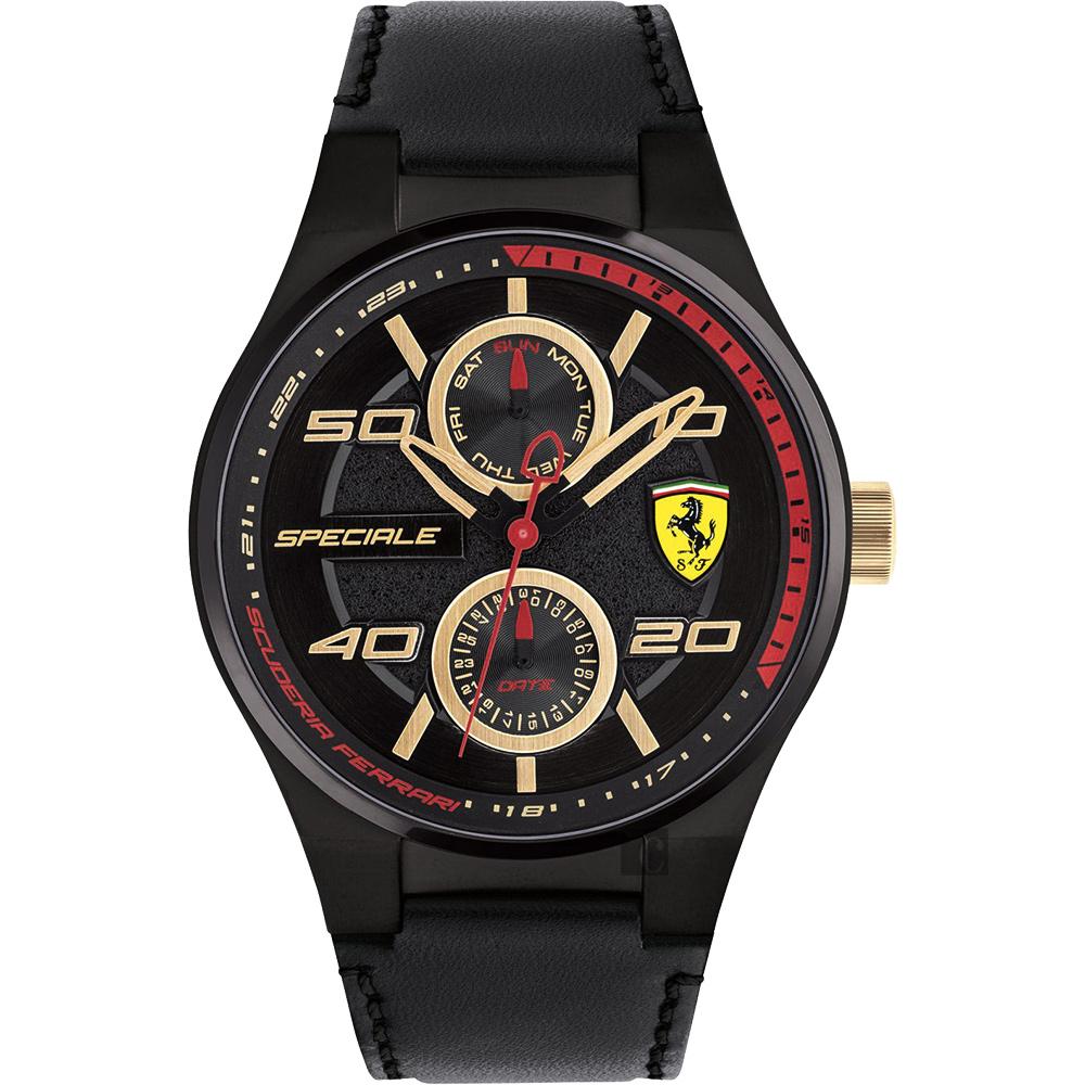 Scuderia Ferrari 法拉利 SPECIALE 日曆腕錶-黑/44mm