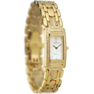 ROSDENTON 勞斯丹頓時尚派對珍珠貝晶鑽時尚手錶-金/30mm